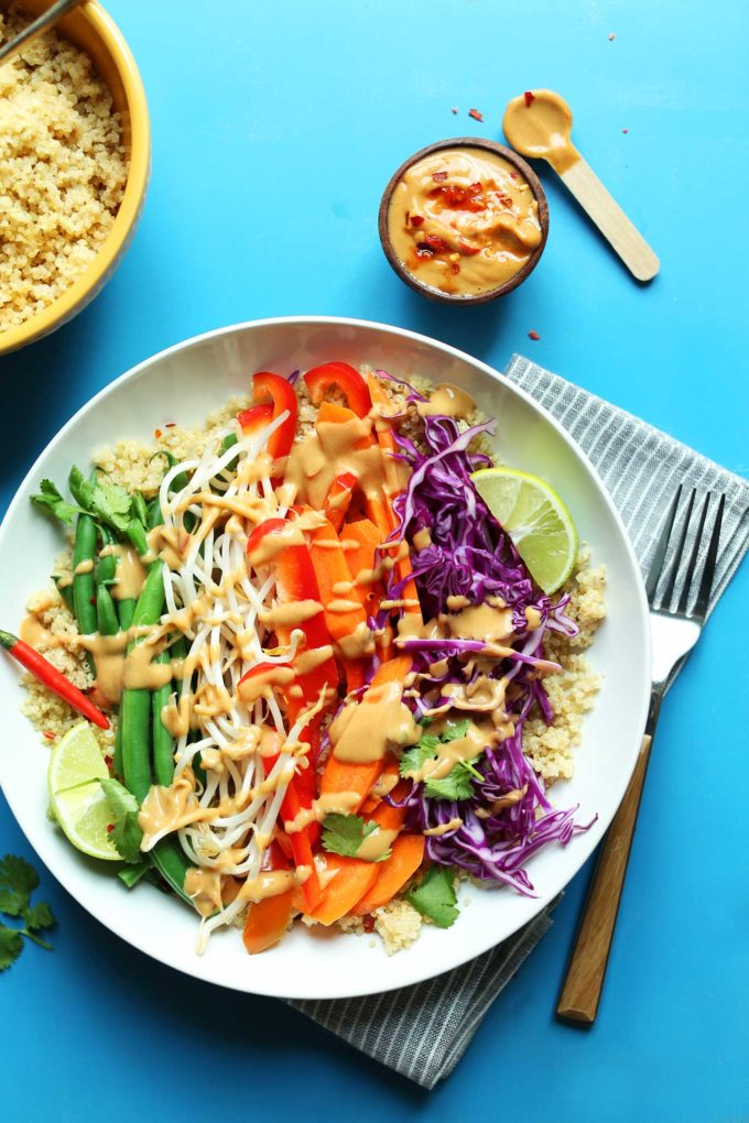 SIMPLE-Vegan-Dinner-Idea-Quinoa-Gado-Gado-with-Veggies-and-SPICY-Peanut-Sauce.-30-minutes-vegan-glutenfree-healthy-recipe-680x1020